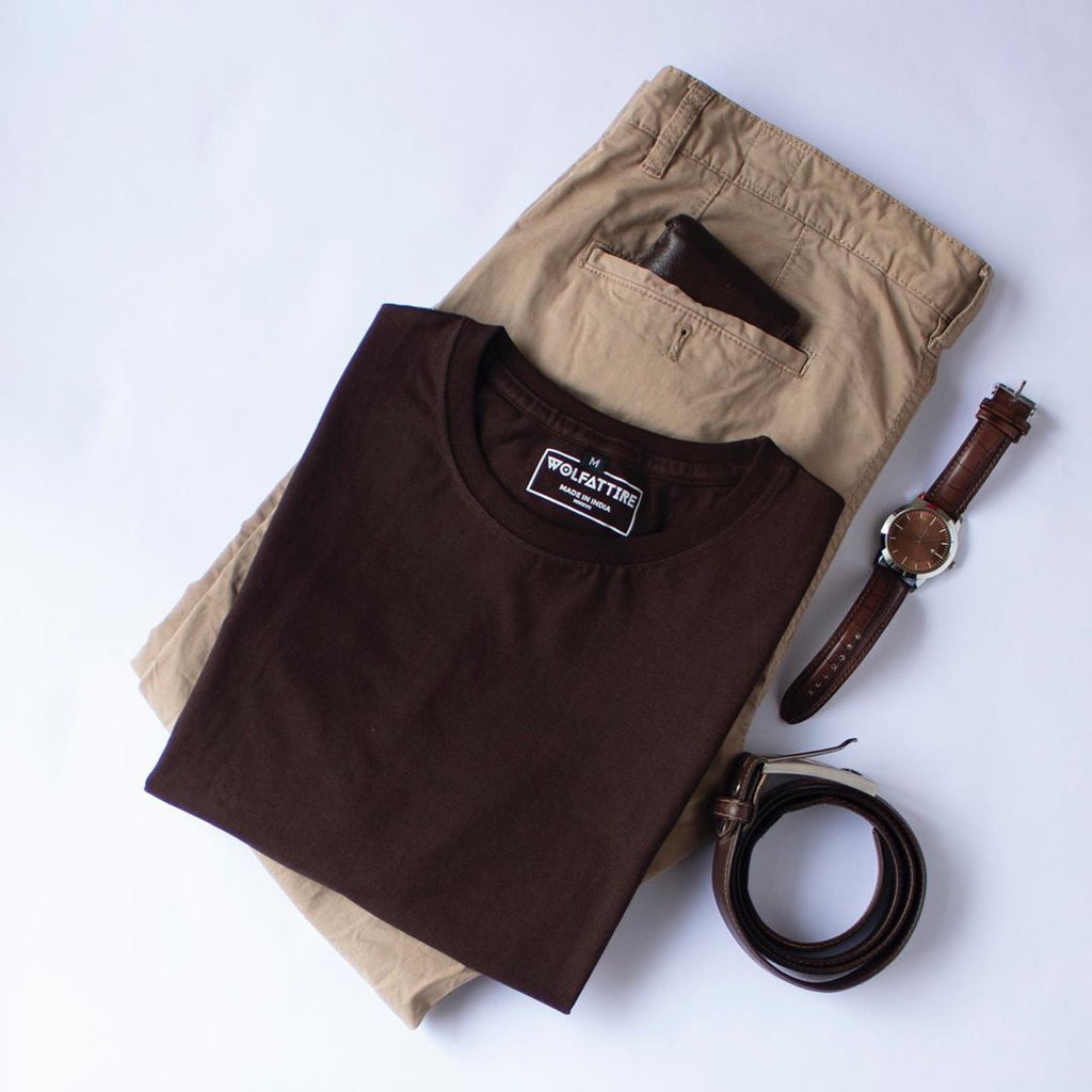 Chocolate Brown Crew Neck Half Sleeve T shirt for Men | Wolfattire