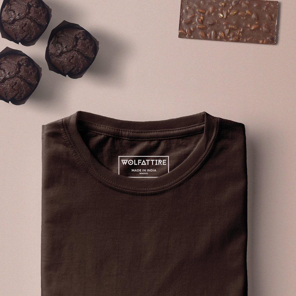 Chocolate Brown Crew Neck T shirt for Men | Wolfattire