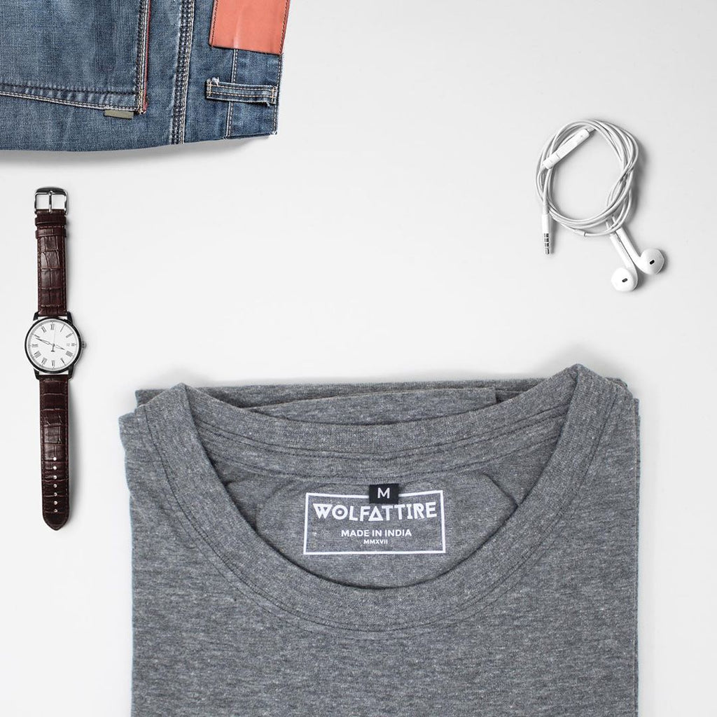 Grey Crew Neck T shirt for Men | Wolfattire