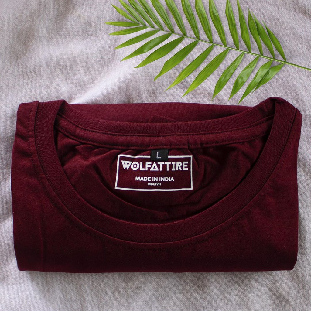 Maroon Crew Neck T shirt for Men | Wolfattire
