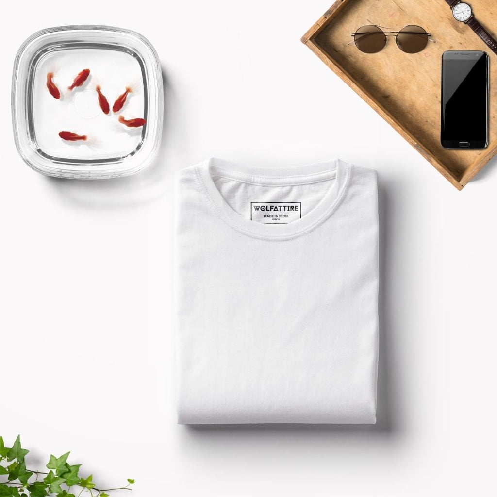 White Crew Neck T shirt for Men | Wolfattire