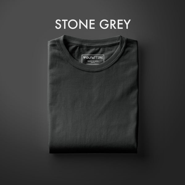 Stone Grey Half Sleeve T-Shirt for Men
