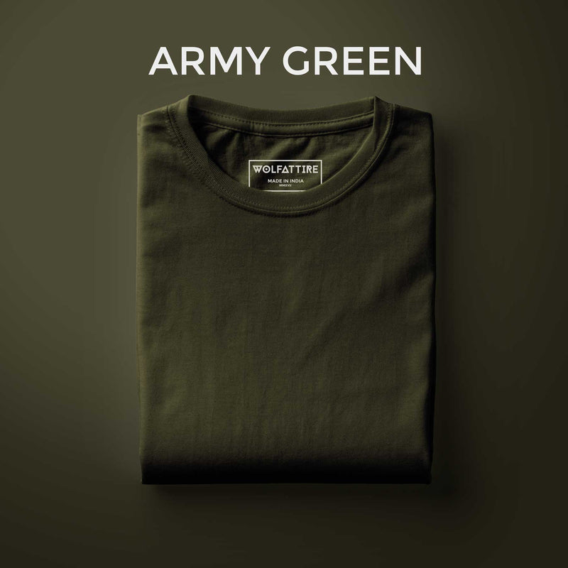 Army Green Half Sleeve T-Shirt for Men