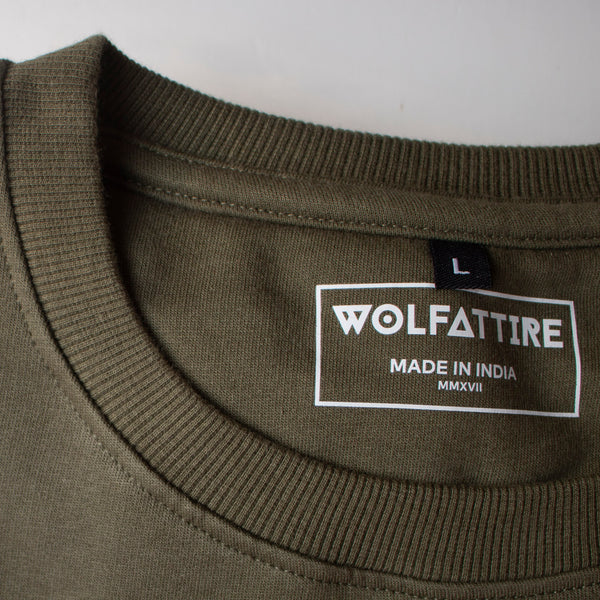 Army Green Sweatshirt for Men_Neck