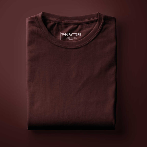 maroon plain t shirt in solid colour | round neck