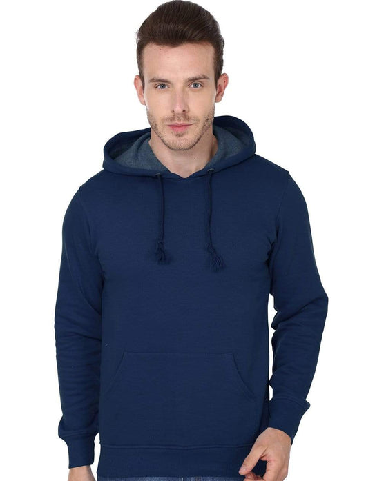 Hooded Sweatshirt Men's Regular Fit Hooded Sweatshirt - Navy Blue wolfattire