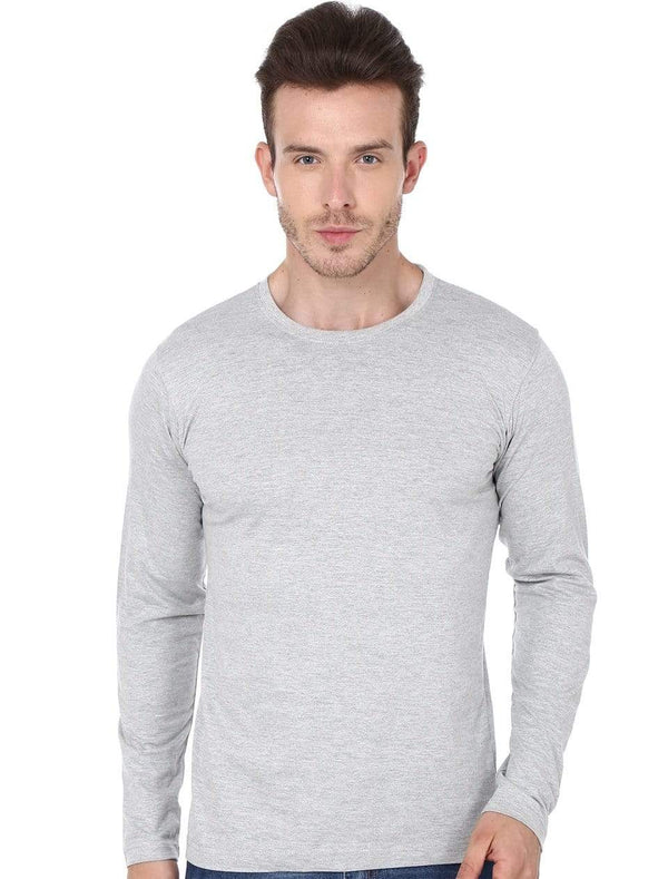 Men's round neck grey full sleeves t-shirt wolfattire