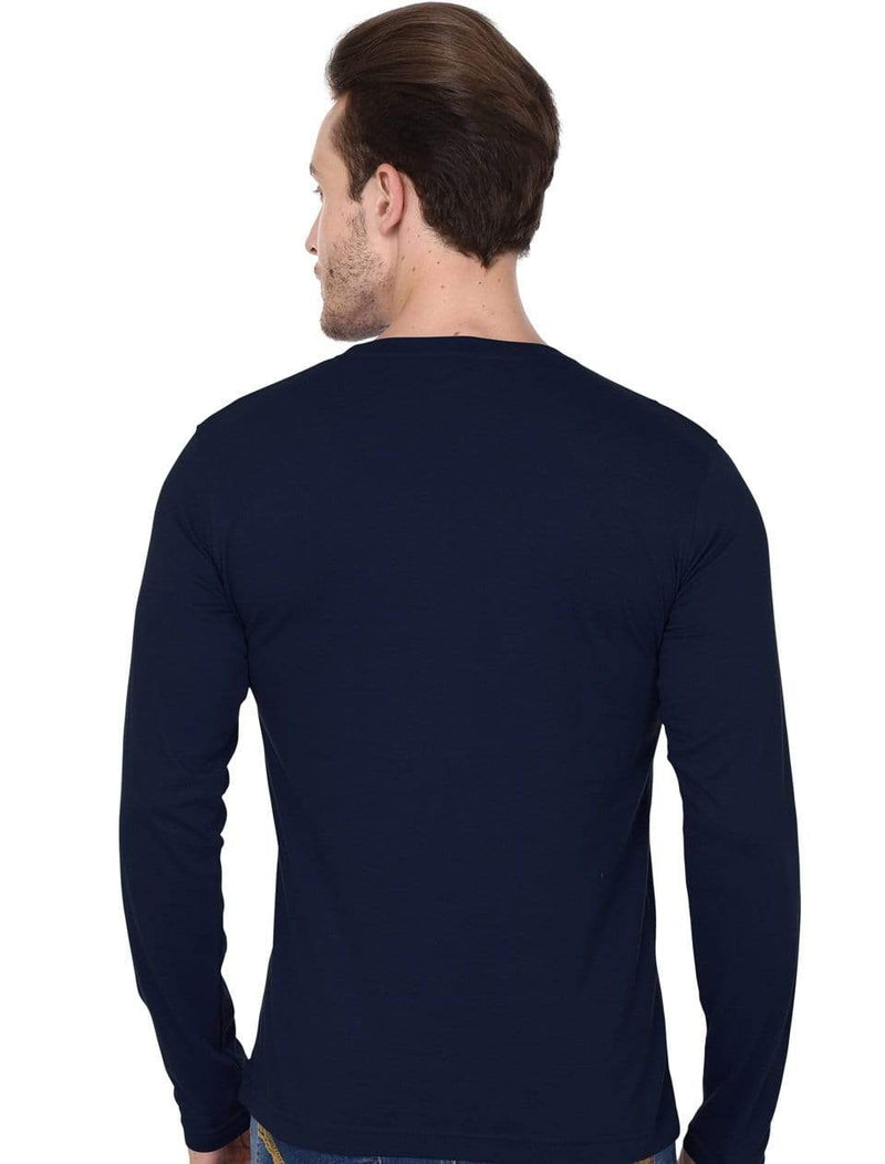 Men's round neck Navy Blue full sleeves t-shirt wolfattire