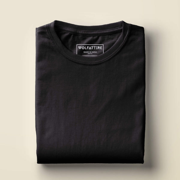 t-shirt Men's Round Neck Plain T-Shirt Black (Regular Fit) wolfattire