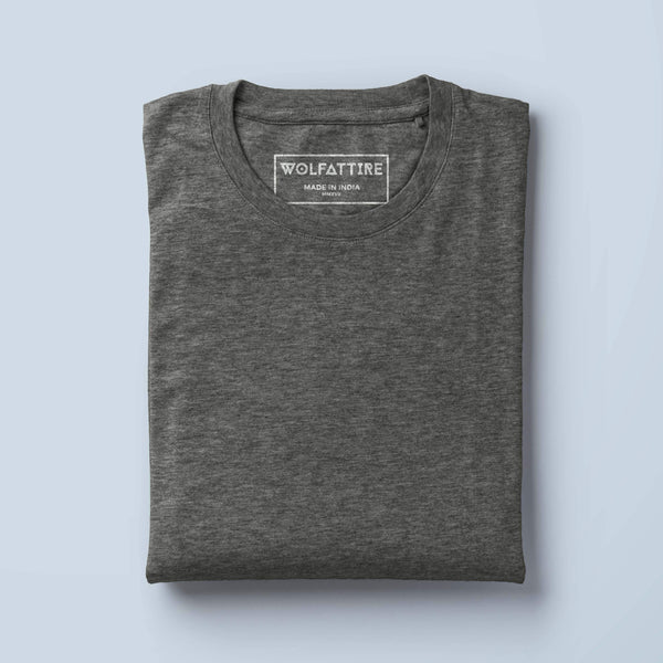 t-shirt Men's Round Neck Plain T-Shirt CHARCOAL GREY (Regular Fit) wolfattire