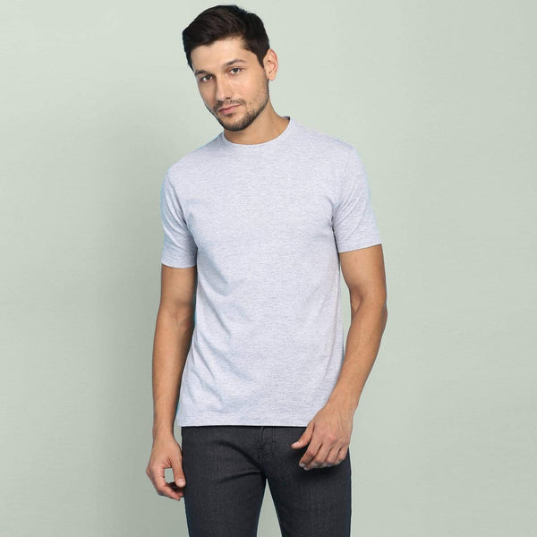 t-shirt Men's Round Neck Plain T-Shirt GREY (Regular fit) wolfattire