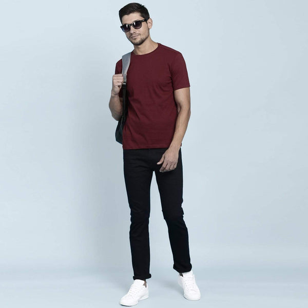 t-shirt Men's Round Neck Plain T-Shirt Maroon (Regular fit) wolfattire