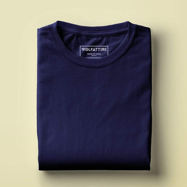 t-shirt Men's Round Neck Plain T-Shirt NAVY BLUE(Regular fit) wolfattire