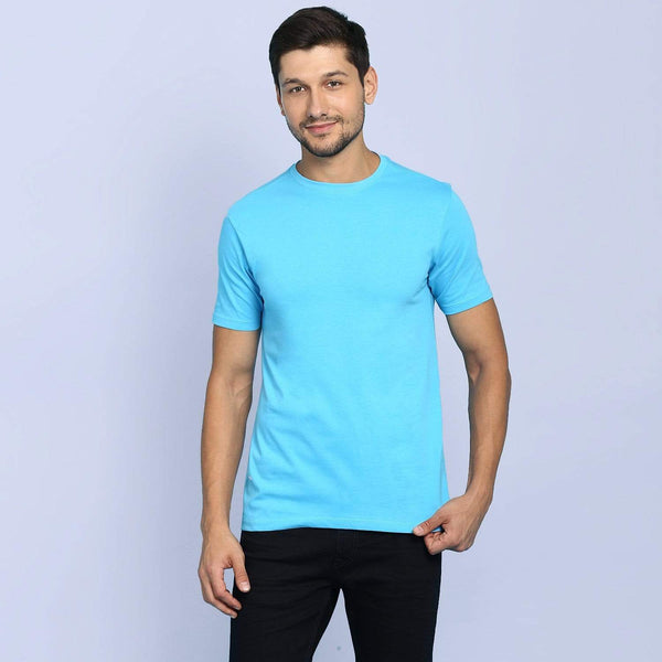 t-shirt Men's Round Neck Plain T-Shirt Turquoise (Regular fit) wolfattire