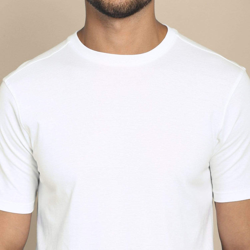 t-shirt Men's Round Neck Plain T-Shirt WHITE (Regular fit) wolfattire