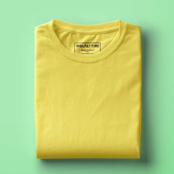 t-shirt Men's Round Neck Plain T-Shirt YELLOW (Regular fit) wolfattire