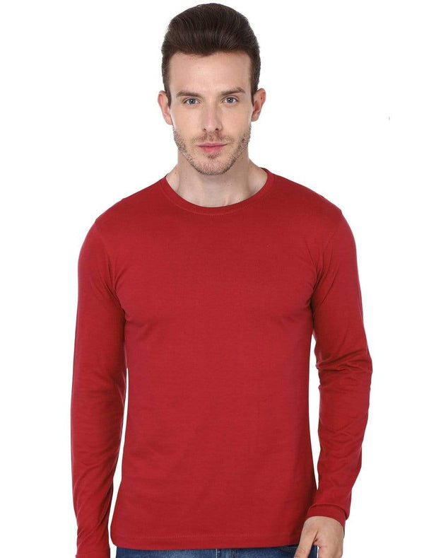 Men's round neck Red full sleeves t-shirt wolfattire