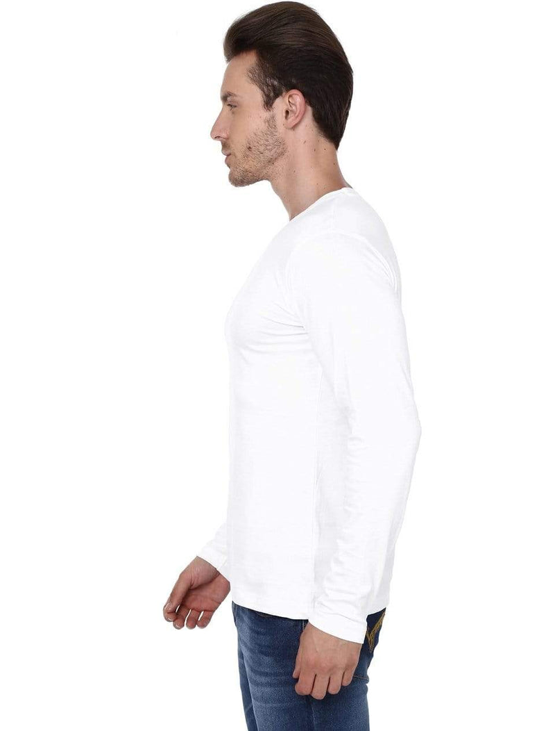 Men's round neck white full sleeves t-shirt wolfattire