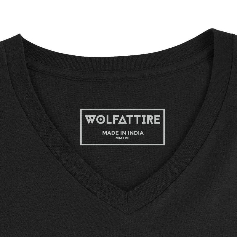 t-shirt Men's V-neck plain T-shirt Black (Regular Fit) wolfattire