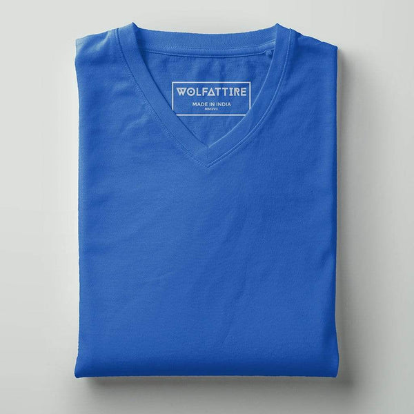 t-shirt Men's V-neck plain T-shirt Blue (Regular Fit) wolfattire