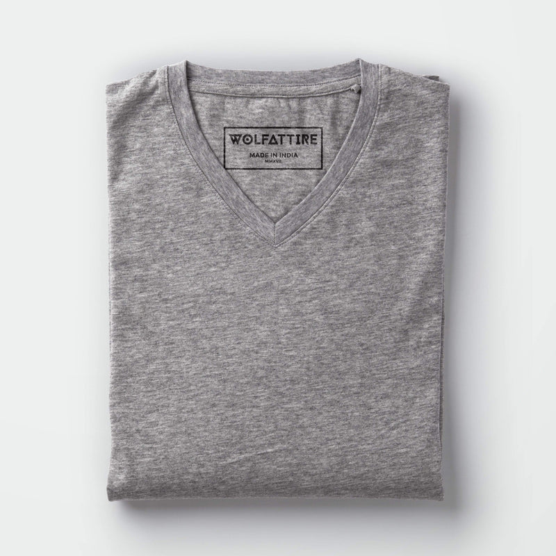 t-shirt Men's V-neck plain T-shirt Grey (Regular Fit) wolfattire