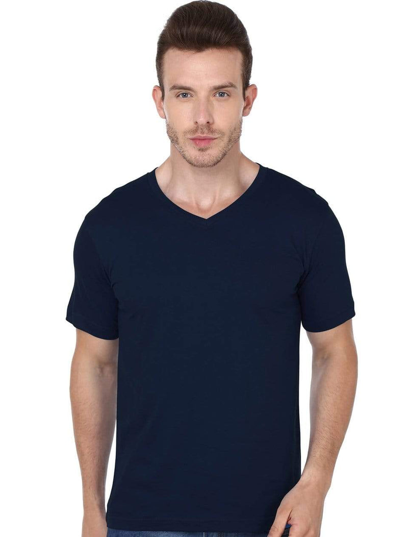 t-shirt Men's V-neck plain T-shirt Navy Blue (Regular Fit) wolfattire