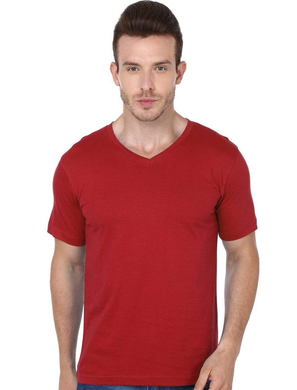 t-shirt Men's V-neck plain T-shirt Red (Regular Fit) wolfattire
