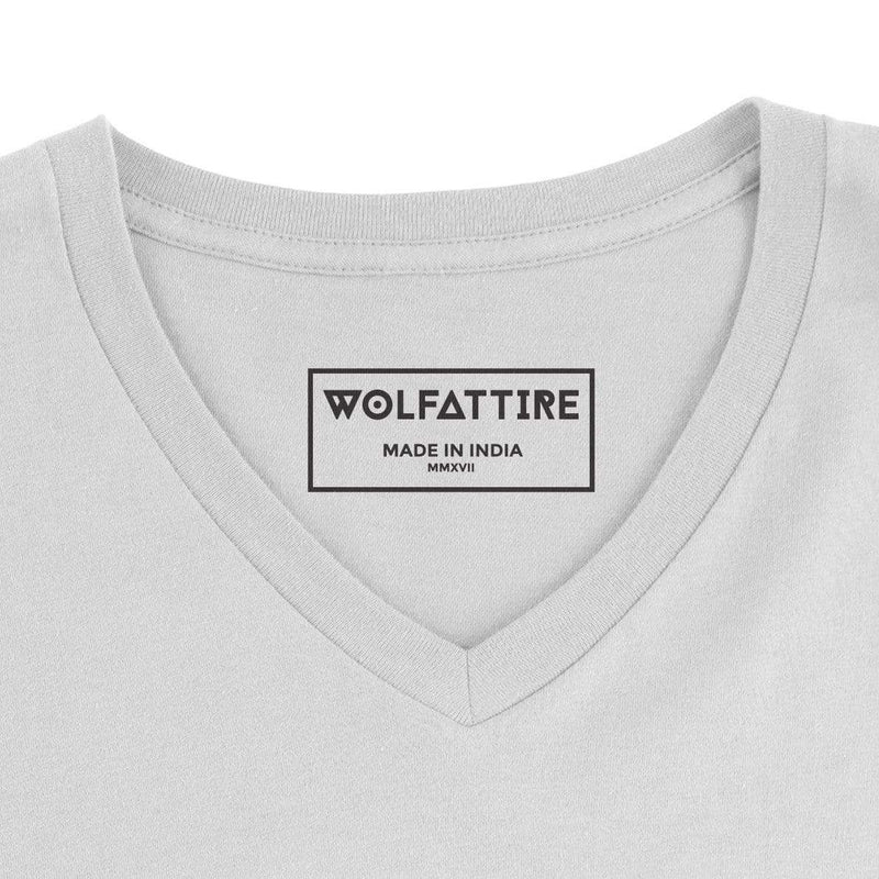 t-shirt Men's V-neck plain T-shirt White (Regular Fit) wolfattire