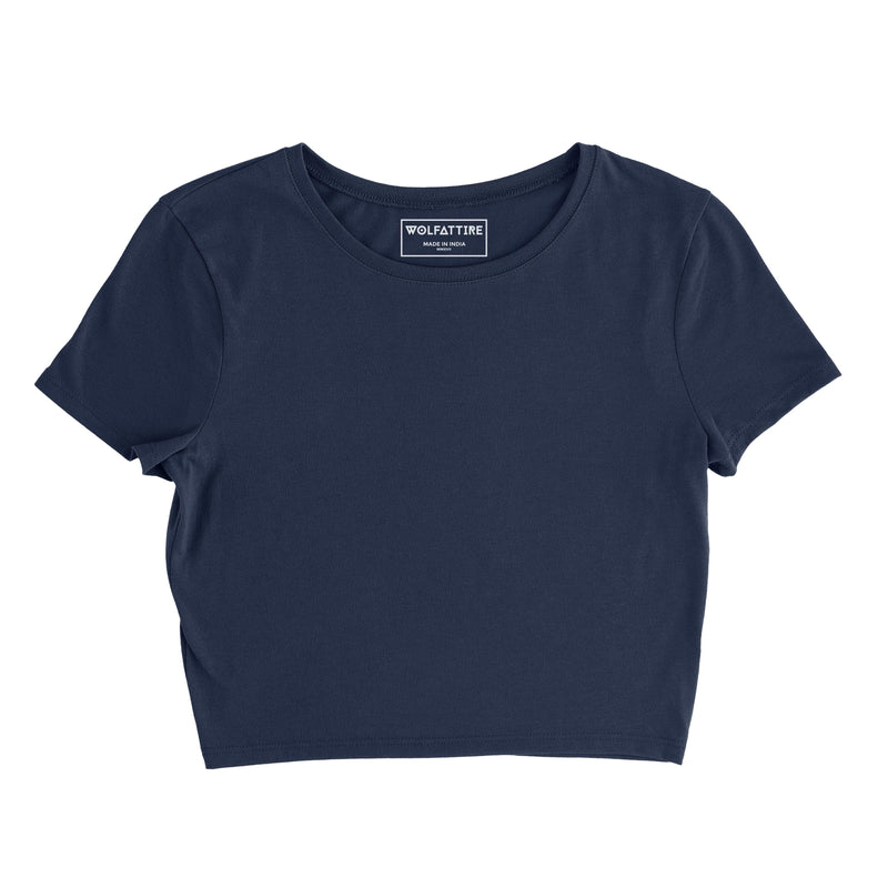 Navy Blue Plain crop top wolfattire