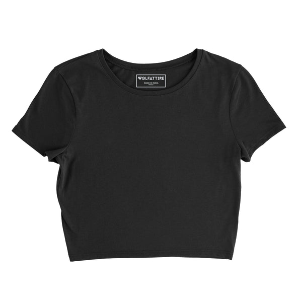 Plain Black Crop Top wolfattire