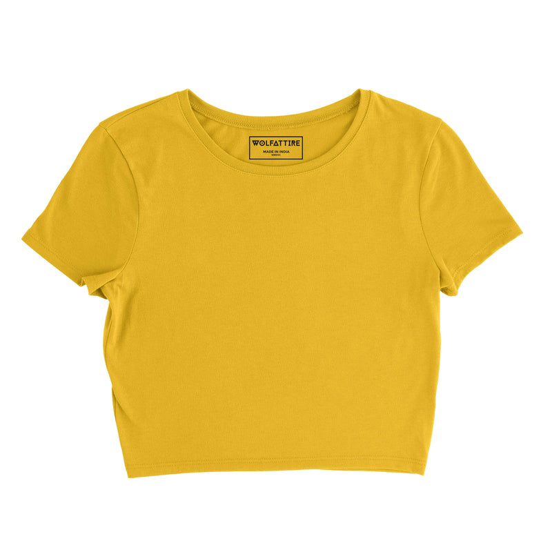 Plain Golden Yellow Crop Top wolfattire