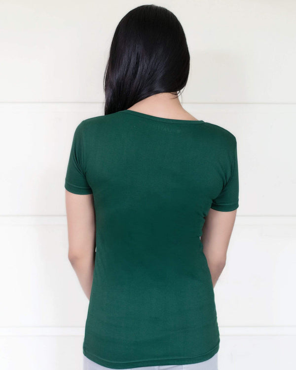 women t-shirt Women's Plain Round Neck T-shirt Green wolfattire