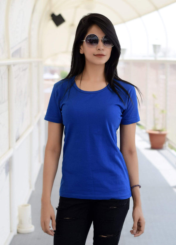 women t-shirt Women's Plain Round Neck T-shirt Royal Blue wolfattire