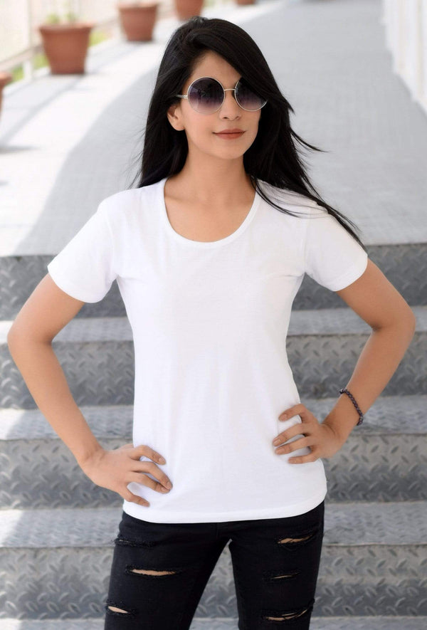 women t-shirt Women's Plain Round Neck T-shirt White wolfattire