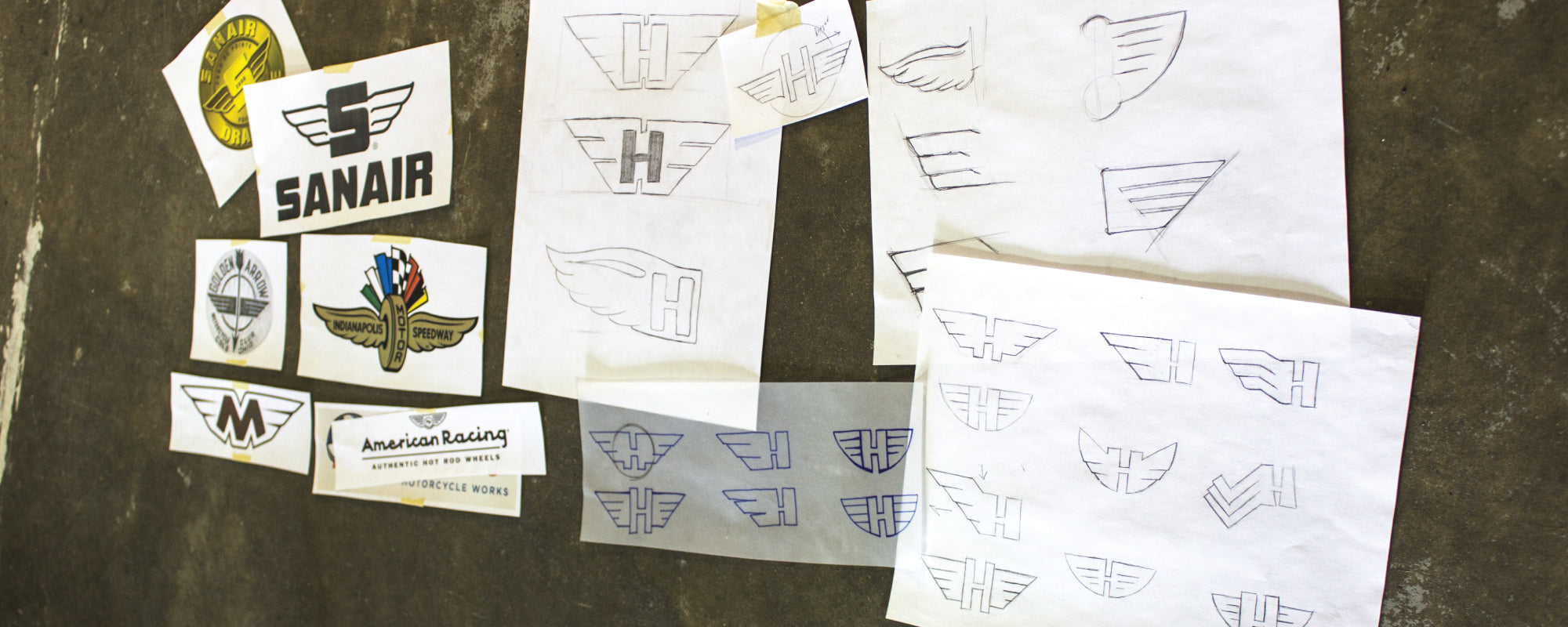 Examples of sketches for artwork and logo creation designed by Strange Planet Printing of Brockton, MA