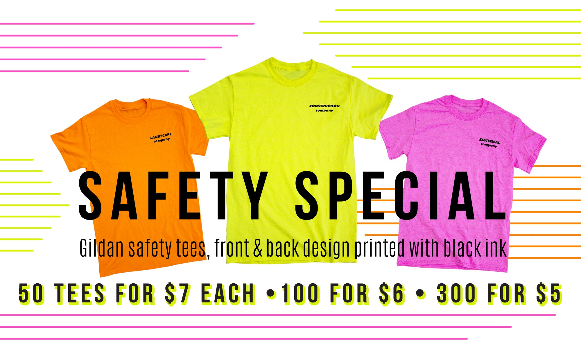 Special Sale of Gildan G2000 Safety T-shirts screen printed front and back using black ink for Landscaping and construction companies at Strange Planet in Brockton, MA
