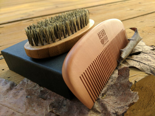 Best Bamboo Boar Bristles Beard Brush and Wooden Comb Set!