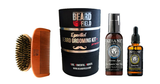 The Essential Beard Grooming Kit | Beard Brush + Beard Comb + Premium Beard Oil + Beard Wash