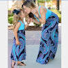 Turquoise Paisley Sleeveless Mommy and Me Long Dresses