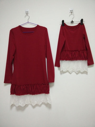 Ruby Long Sleeved Lace Bottom Mommy and Me Top - Byrne Berlin