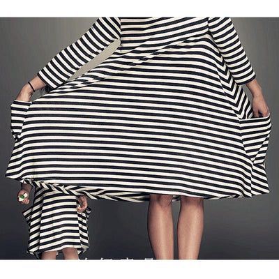 Mommy and Me Matching Striped Loose and Long Dress with Pockets