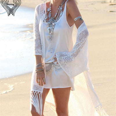 Women's Long Fringe Style Lace Summer Beach Swimwear Cover Up - Byrne Berlin