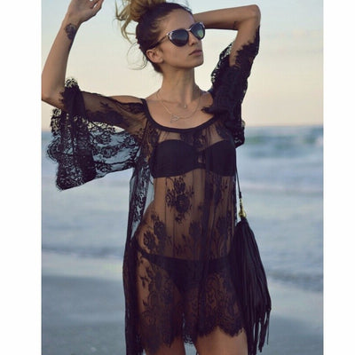 Women's Lace Off the Shoulder Solid Color Loose Beach Summer Swimwear Cover Up - Byrne Berlin