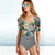 Women's Sleeved Floral Printed and Stripe High Waist One Piece Swimsuit