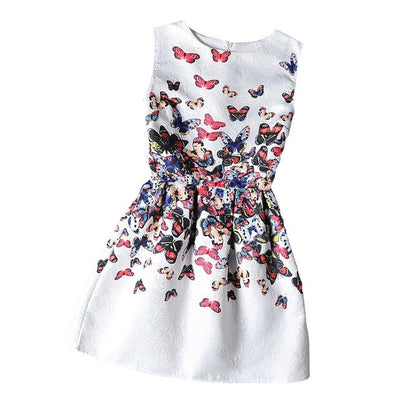 Mommy and Me Matching Autumn White Butterfly Print Dress