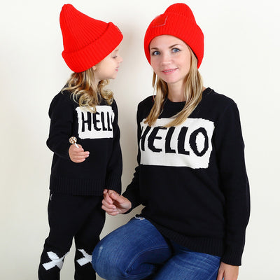 Hello and Bye Winter Long Sleeve Sweater Matching Mommy and Me - Byrne Berlin