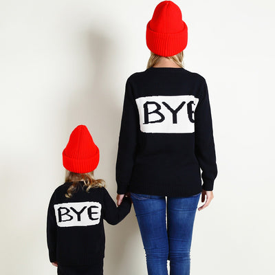 Mommy and Me Matching Hello and Bye Winter Long Sleeve Sweater - Byrne Berlin