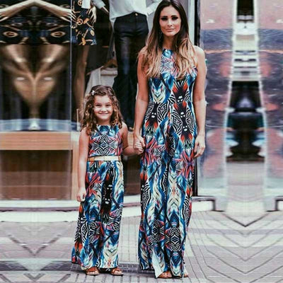 Mommy and Me Matching Printed Sun Dress
