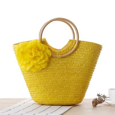 Le Blossom - Women's Summer Floral Straw and Round Wooden Handled Beach Tote - Byrne Berlin