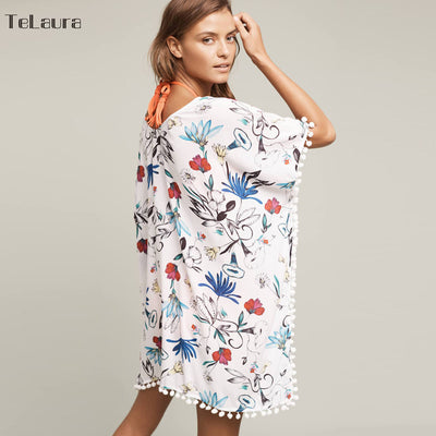 DREE Fun Floral Chiffon Pom Pom Swimwear Cover Up - Byrne Berlin